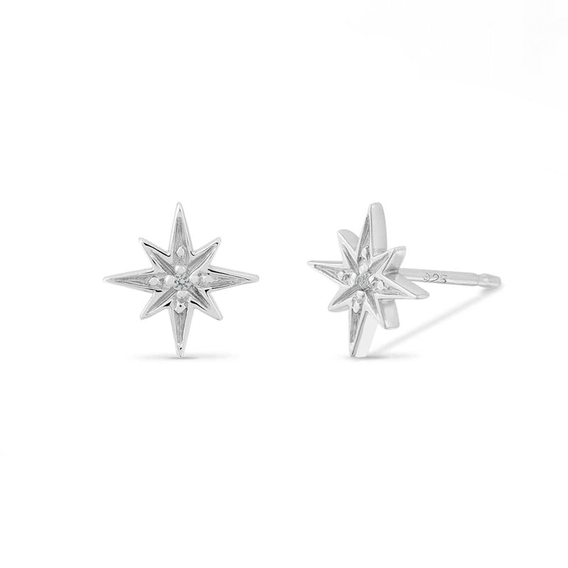 boma new Starburst Studs with White Topaz