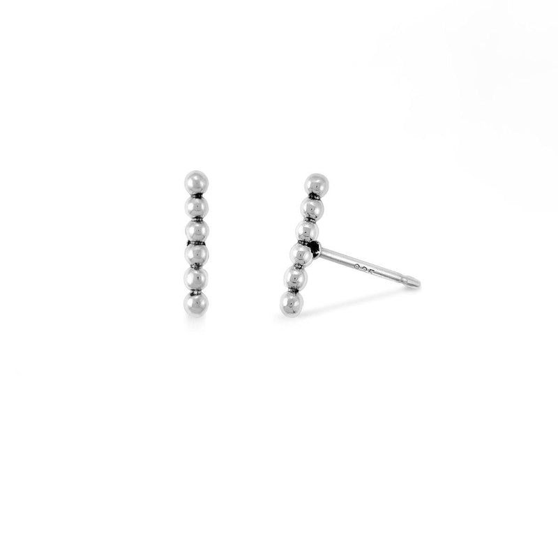 Boma New Earrings Sterling Silver Dot Short Bar Studs