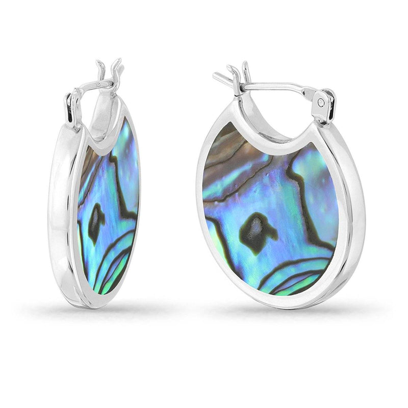 silver hoop earrings with abalone stone two side inlay