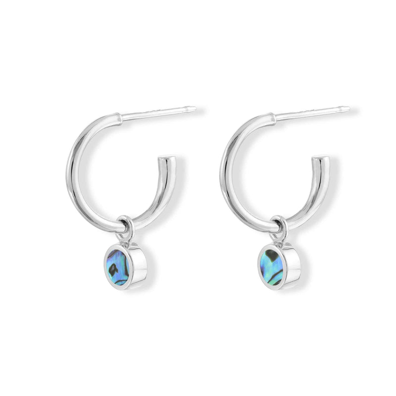 boma new Stone Drop  Hoops with abalone Stone
