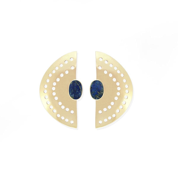 boma jewelry Vintage Half Moon  Brass Earrings with lapis lazuli stone