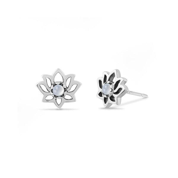 Boma New Earrings Sterling Silver with Mother of pearl Lotus Flower Sterling Silver Studs with Stone