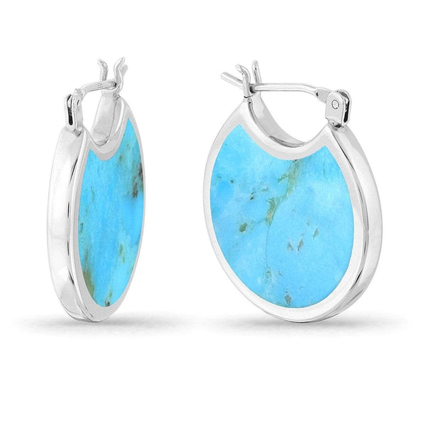 silver hoop earrings with turquoise stone inlay two side