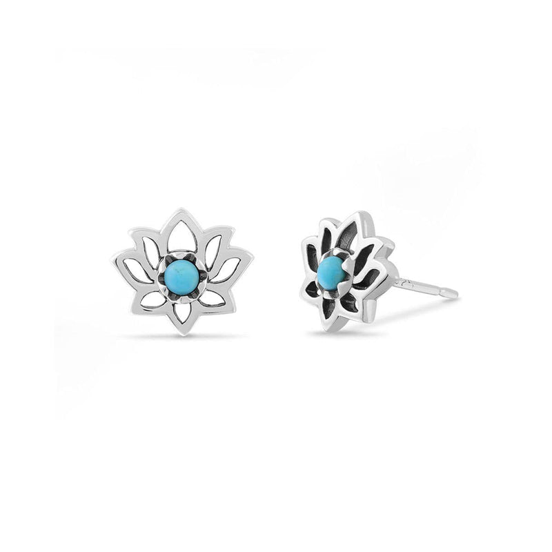 Lotus Flower Sterling Silver Studs with  Turquoise Stone