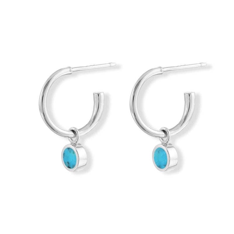 boma new Stone Drop  Hoops with  turquoise Stone