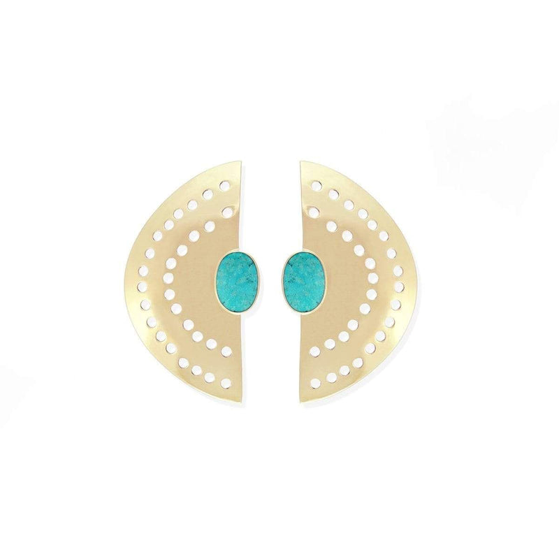 boma jewelry Vintage Half Moon  Brass Earrings with turquoise stone