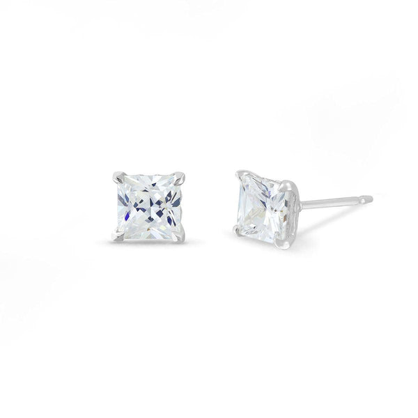 Boma New Earrings Sterling Silver with White Topaz Belle Studs with Princess Cut White Topaz