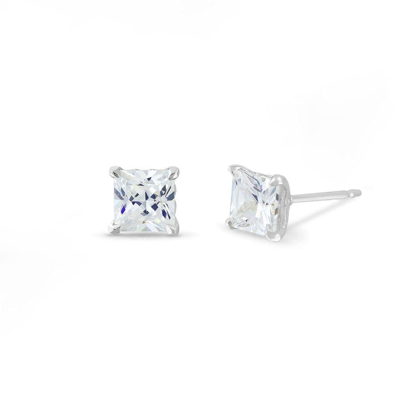 Boma New- Earrings Sterling Silver with White Topaz Belle Studs with Princess cut White Topaz