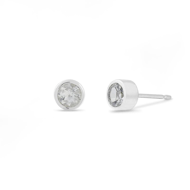 Boma New Earrings Sterling Silver with White Topaz Belle Studs with White Topaz