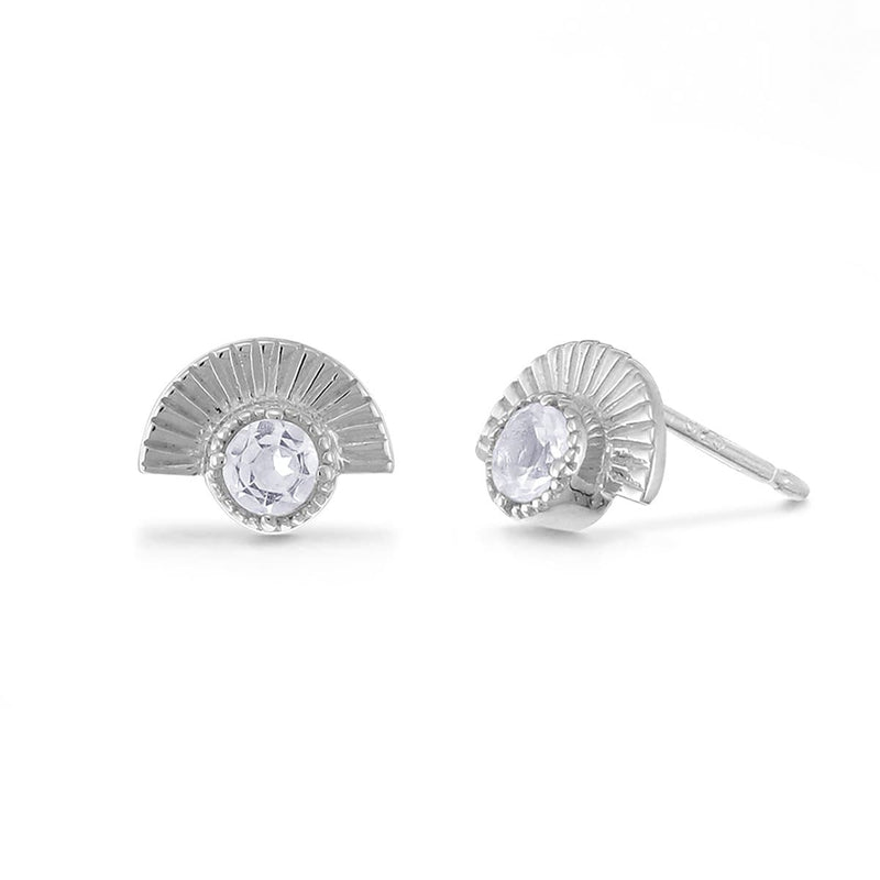 Boma New Earrings Sterling Silver with White Topaz Cosette Studs