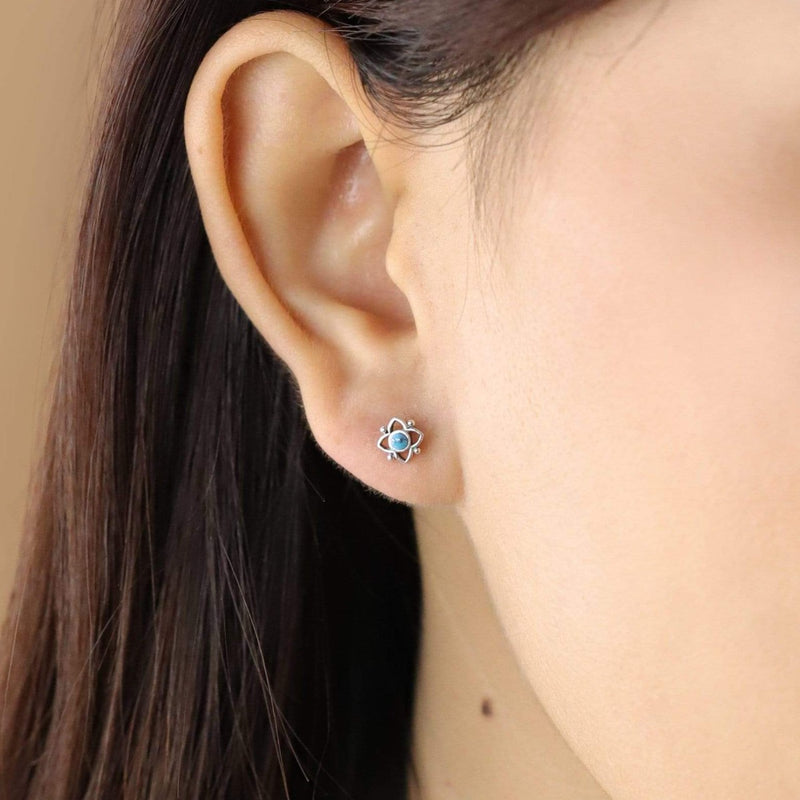 Boma New Earrings Turquoise Flower Shaped Dot Studs