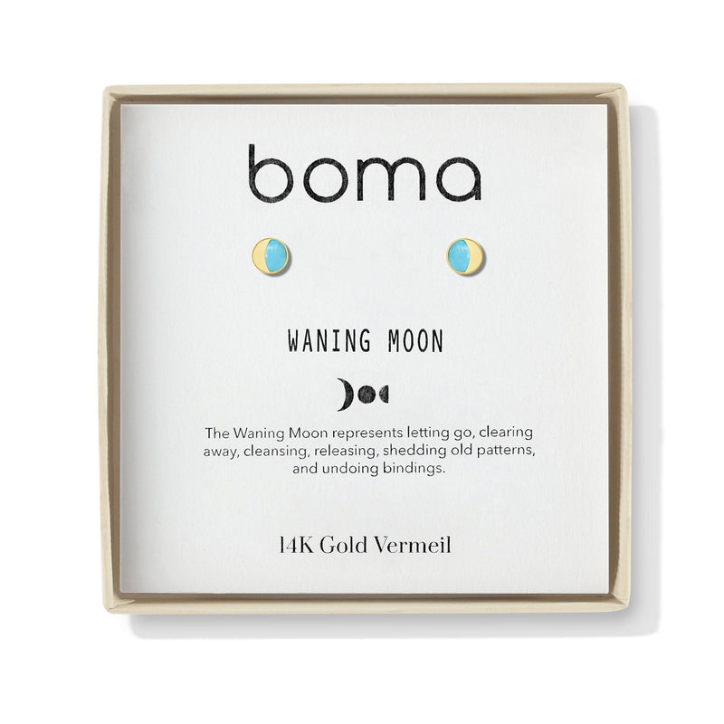 boma new gold earring waning moon with turquoise stone  studs