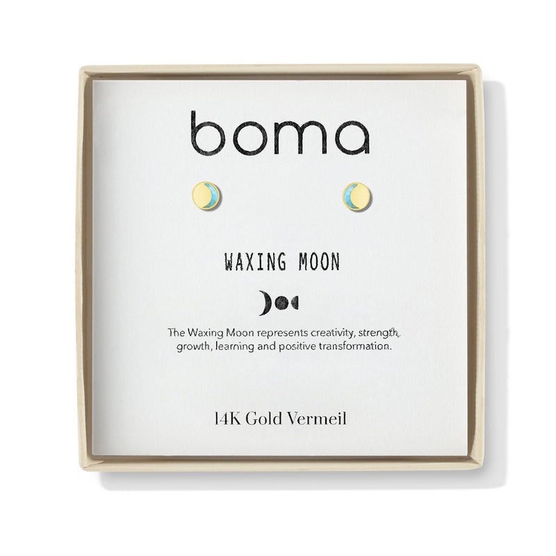 Boma New Earrings Waxing Moon Studs