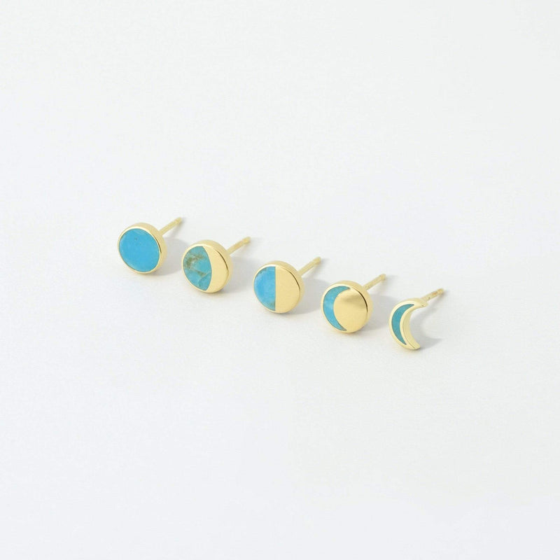 Gold waxing moon with turquoise stone studs