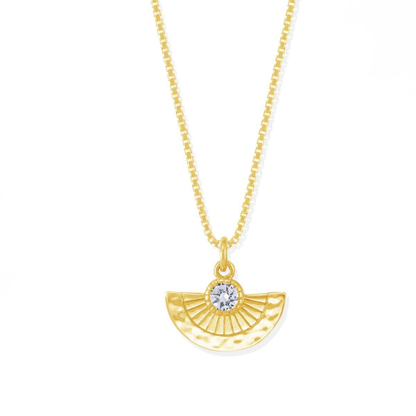 Boma New Necklaces 14K Gold Vermeil with White Topaz Nia Fan Necklace