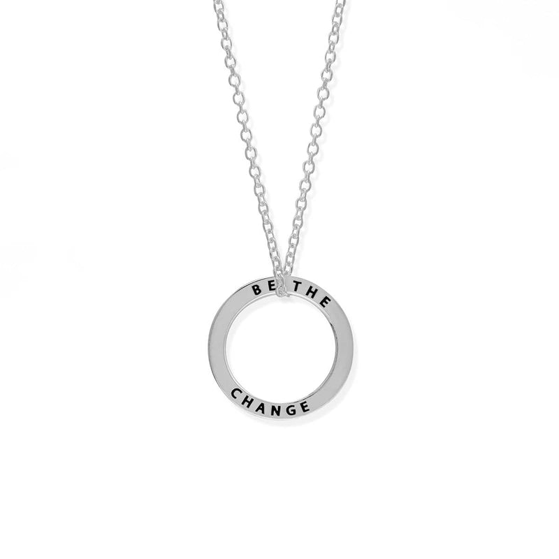 boma new-be the change  silver necklace,open circle sterling silver neckace