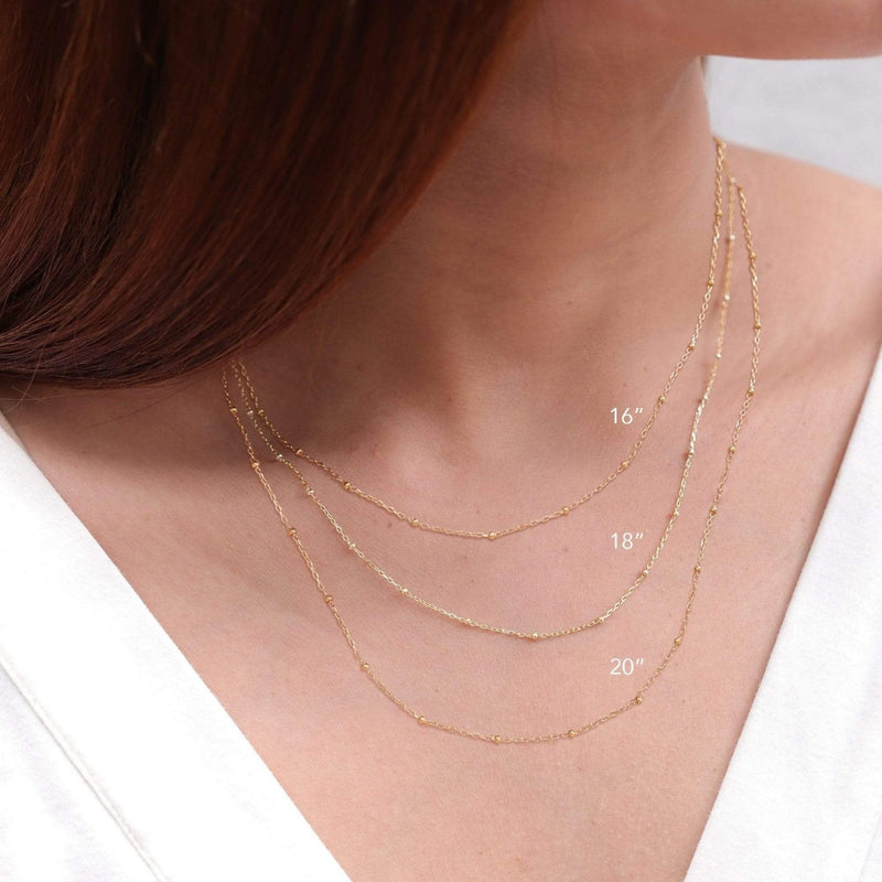 14K gold vermeil -bead chain necklace