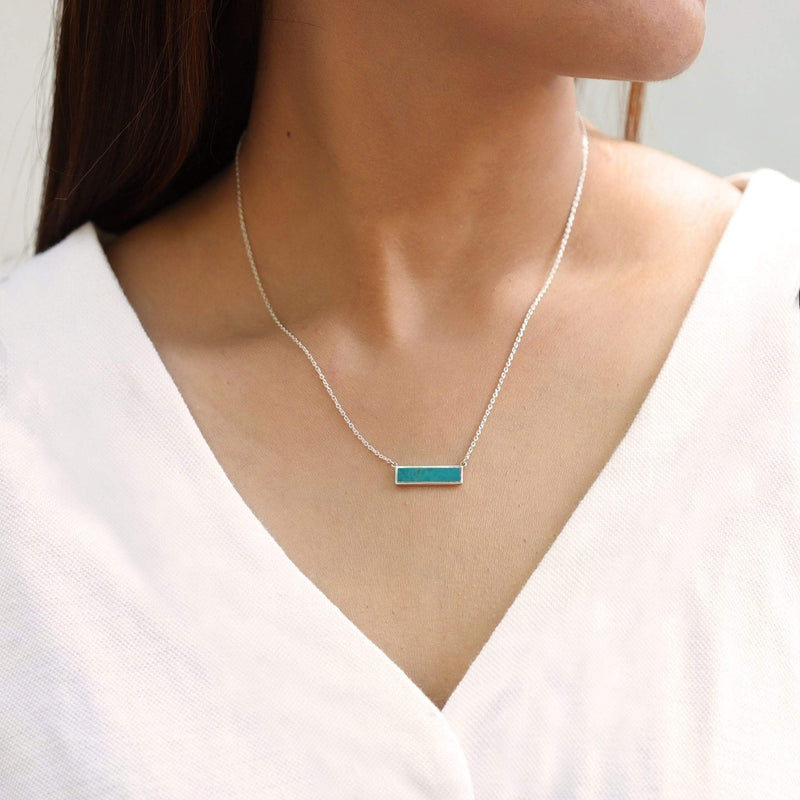 Boma New Necklaces Belle Horizontal Bar Necklace with Stone