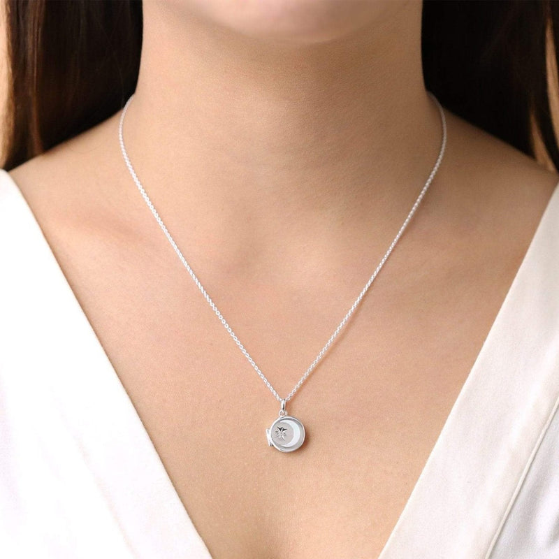 Boma New- Necklace circle crescent moon sterling silver birthstone locket necklace