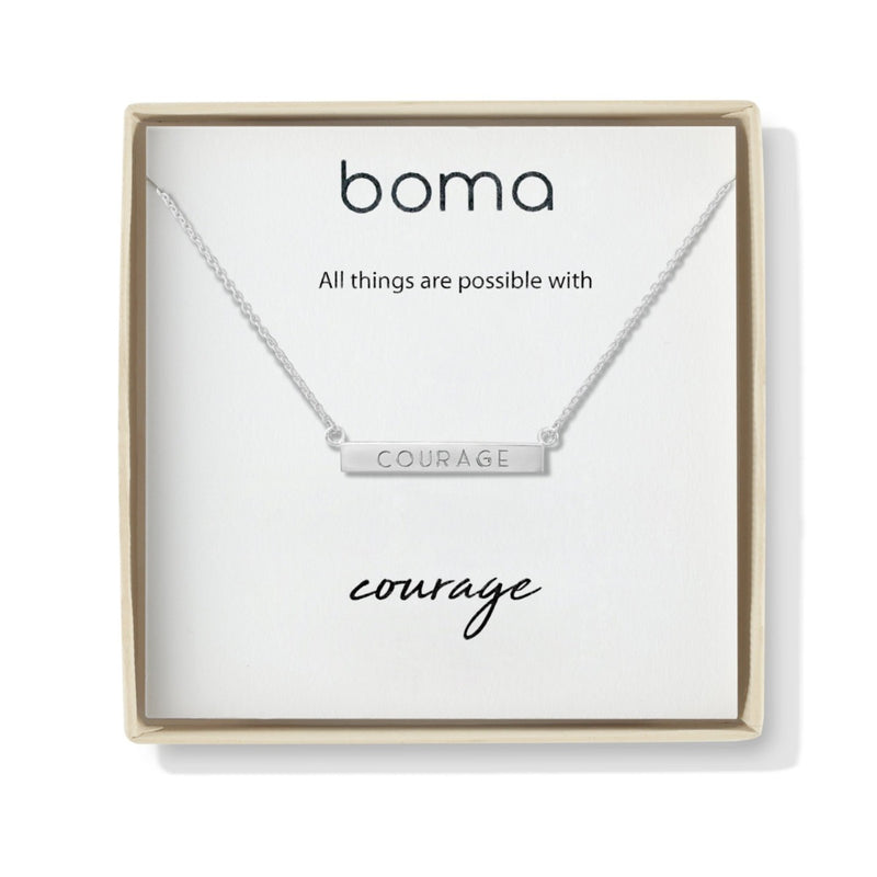 Boma New Necklaces Courage Horizontal Sterling Silver Bar Necklace