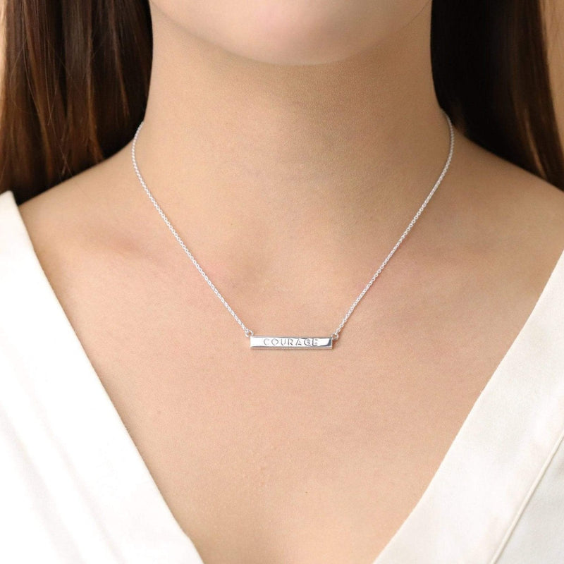 Boma New-Courage Horizontal Sterling Silver Bar Necklace