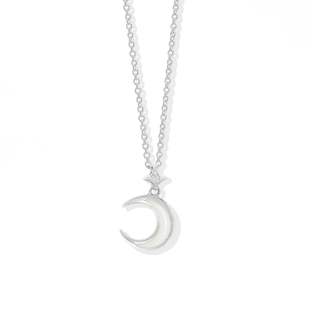 Boma New-Crescent Moon Sterling Silver Necklace with Pearl and White Topaz
