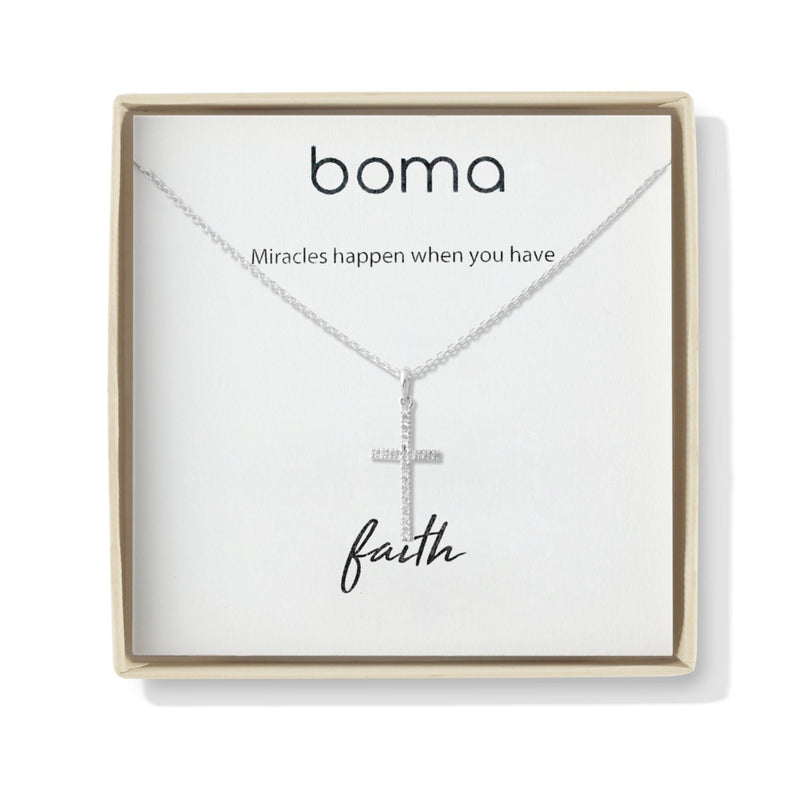 Boma New-Cross Sterling Silver Two way Necklace with White Topaz