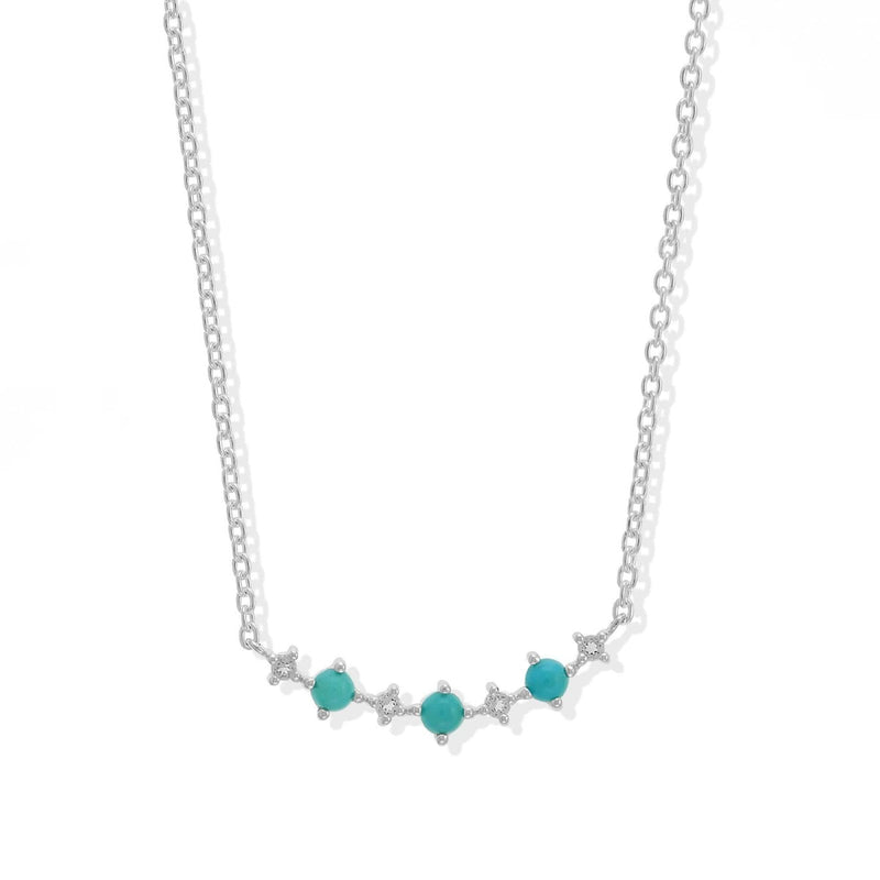 Boma New Necklaces Curved Sterling Silver Pendant with Turquoise and White Topaz