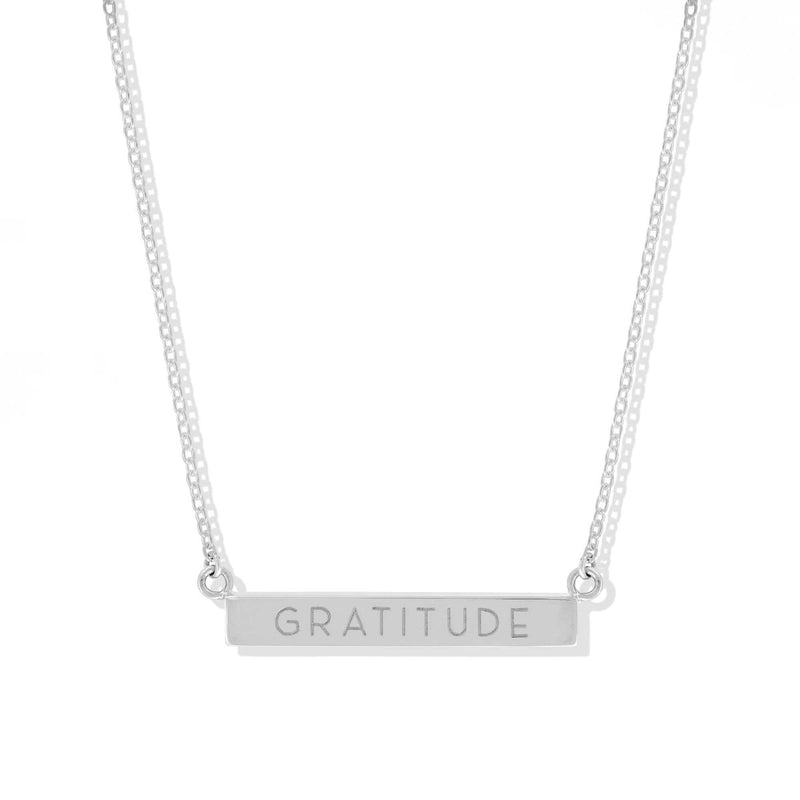 Gratitude Horizontal Sterling Silver Bar Necklace