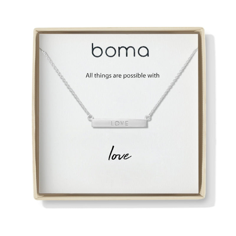Love Horizontal Sterling Silver Bar Necklace
