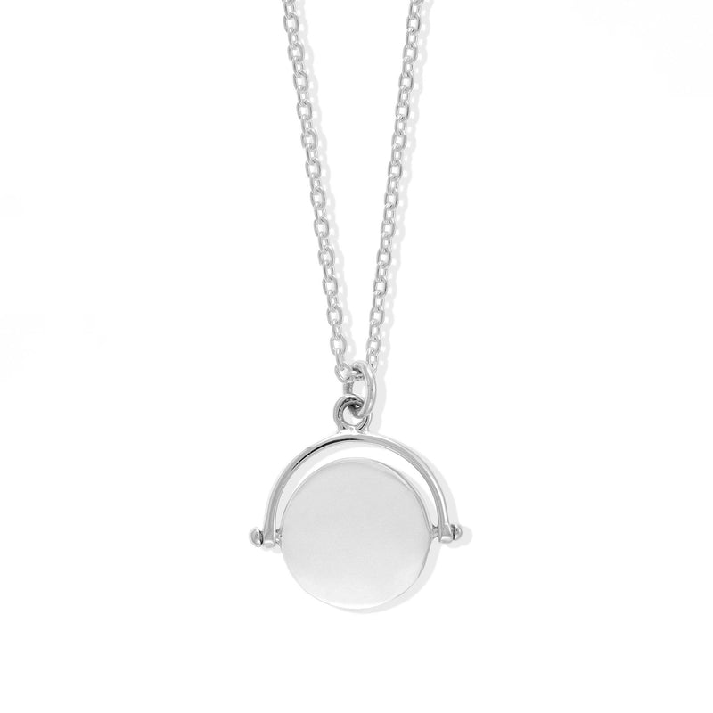 Boma New Necklaces Rotating Coin Signet Sterling Silver Pendant Necklace