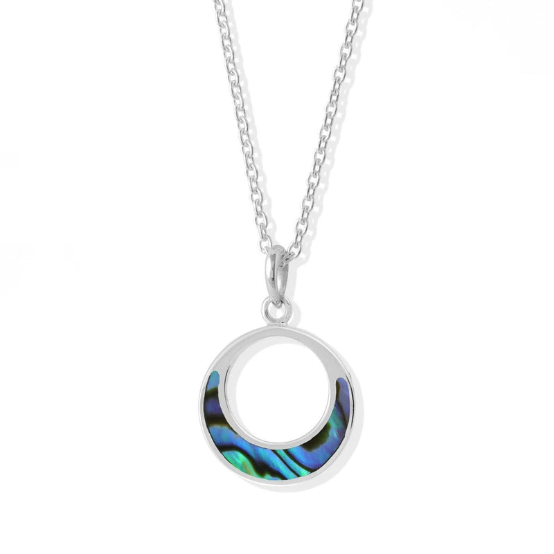 Open Circle  Sterling Silver Pendant With Abalone Stone
