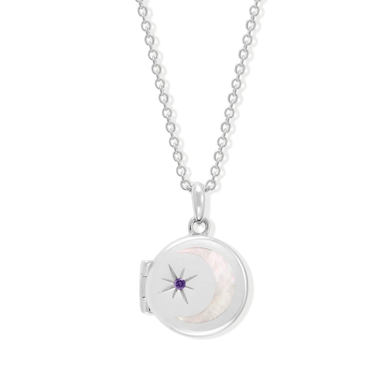 Boma New-Circle Crescent Moon Sterling Silver Birthstone Amethyst for FebuaryLocket Necklace