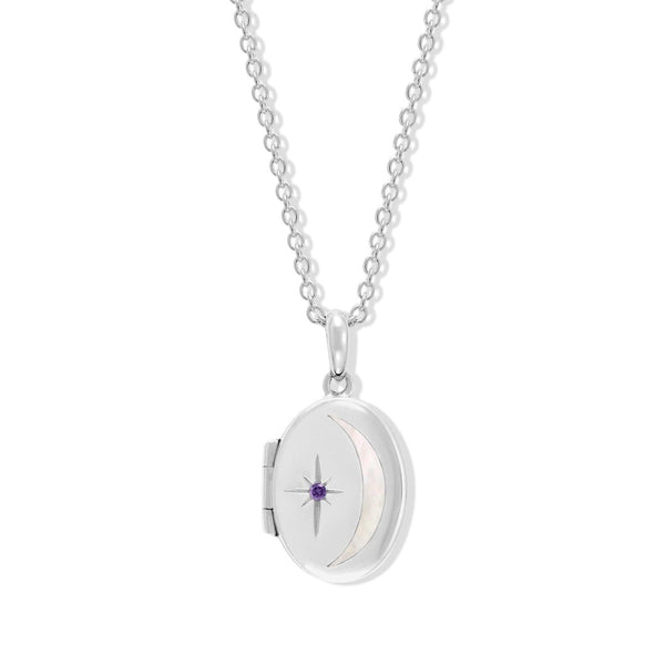 Boma New Necklaces Sterling Silver with Amethyst for February Oval Crescent Moon Sterling Silver Birthstone locket Necklace