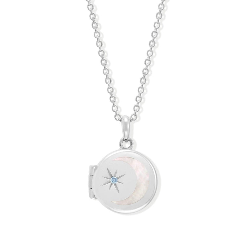 Boma New Necklaces Sterling Silver with Aquamarine for March Circle Crescent Moon Sterling Silver Birthstone Locket Necklace