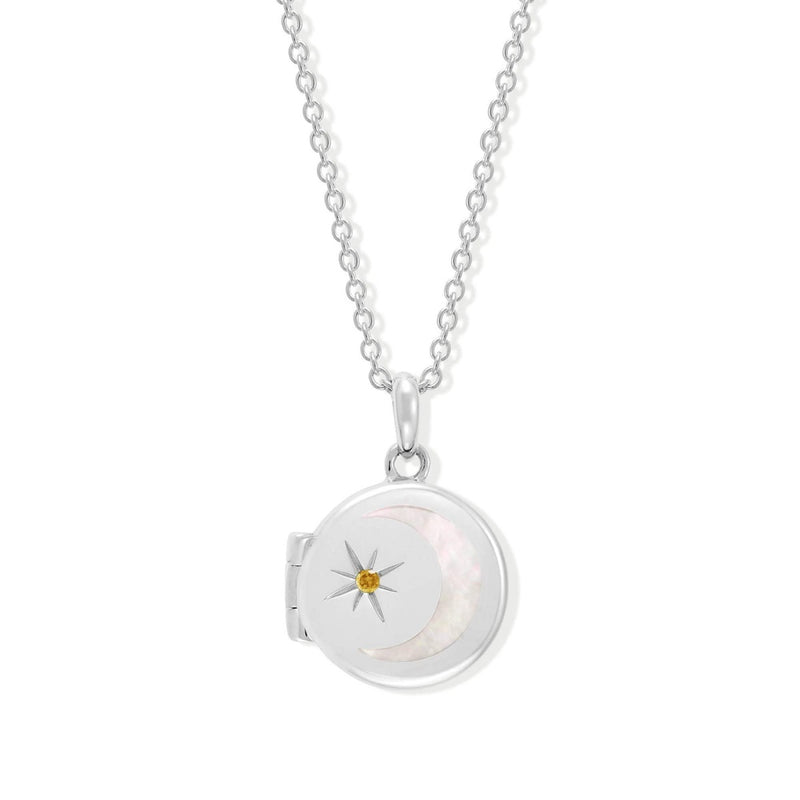 Boma New Necklaces Sterling Silver with Citrine for November Circle Crescent Moon Sterling Silver Birthstone Locket Necklace