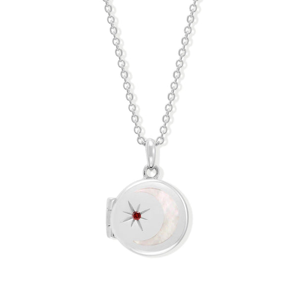 Boma New Necklaces Sterling Silver with Garnet for January Circle Crescent Moon Sterling Silver Birthstone Locket Necklace