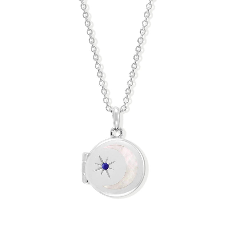 Boma New-Circle Crescent Moon Sterling Silver Birthstone Lapiz Lazuli for September Locket Necklace