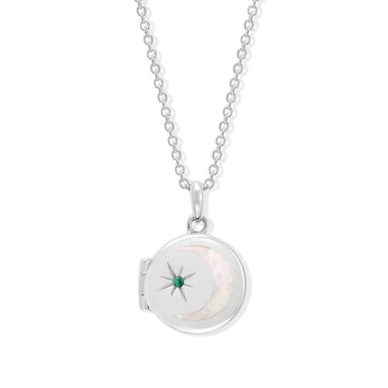 Boma New Necklaces Sterling Silver with Malachite for May Circle Crescent Moon Sterling Silver Birthstone Locket Necklace