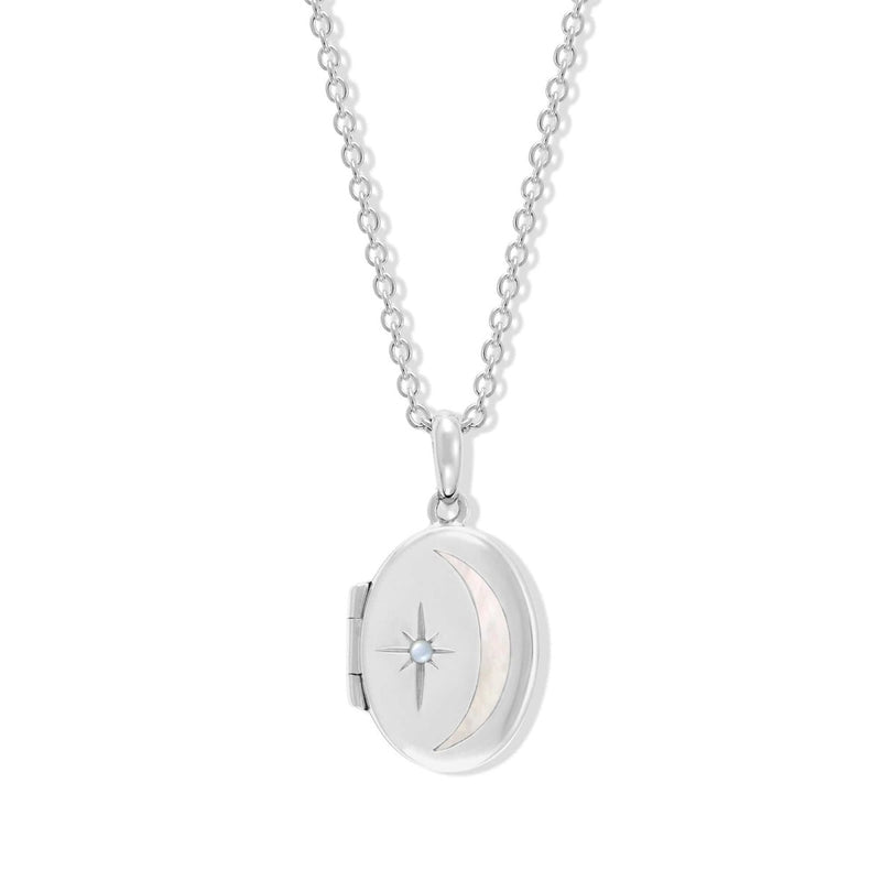 Boma New Necklaces Sterling Silver with Moonstone for June Oval Crescent Moon Sterling Silver Birthstone locket Necklace