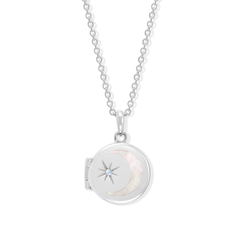 Boma New Necklaces Sterling Silver with Mother of pearl for October Circle Crescent Moon Sterling Silver Birthstone Locket Necklace