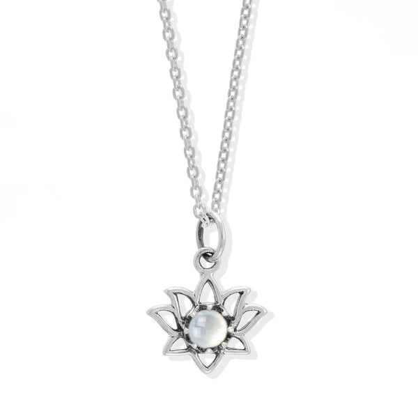 Boma New Necklaces Sterling Silver with Mother of pearl Lotus Flower Sterling Silver Necklace with Stone Pendant