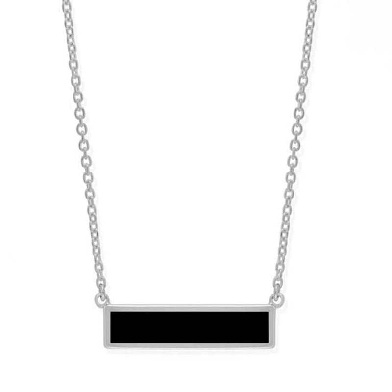 Boma New Necklaces Sterling Silver with Onyx Belle Horizontal Bar Necklace with Stone