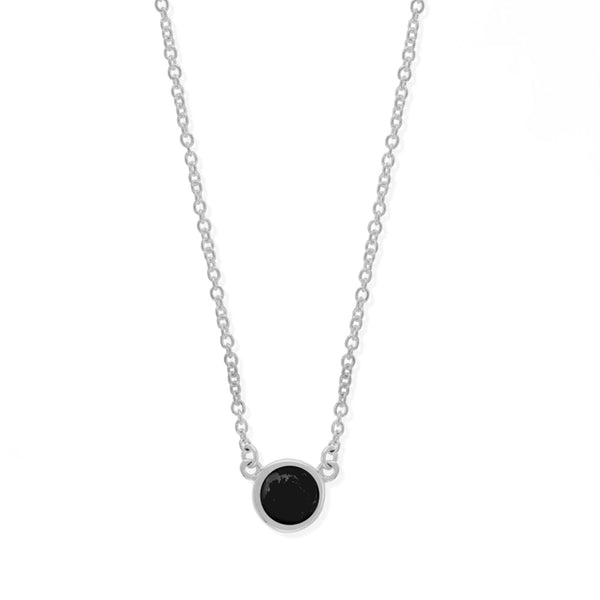 Boma New Necklaces sterling Silver with Onyx Belle Stone Pendant Necklace