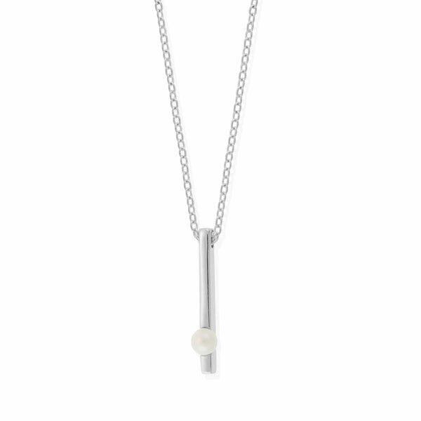 Boma New Necklaces Sterling Silver with Pearl Belle Pearl Long Bar Necklace