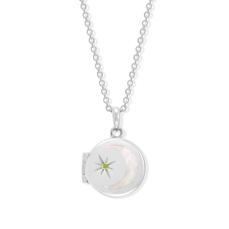 Boma New Necklaces Sterling Silver with Peridot for August Circle Crescent Moon Sterling Silver Birthstone Locket Necklace