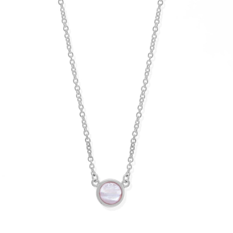 Boma New Necklaces Sterling Silver with Pink Shell Belle Stone Pendant Necklace