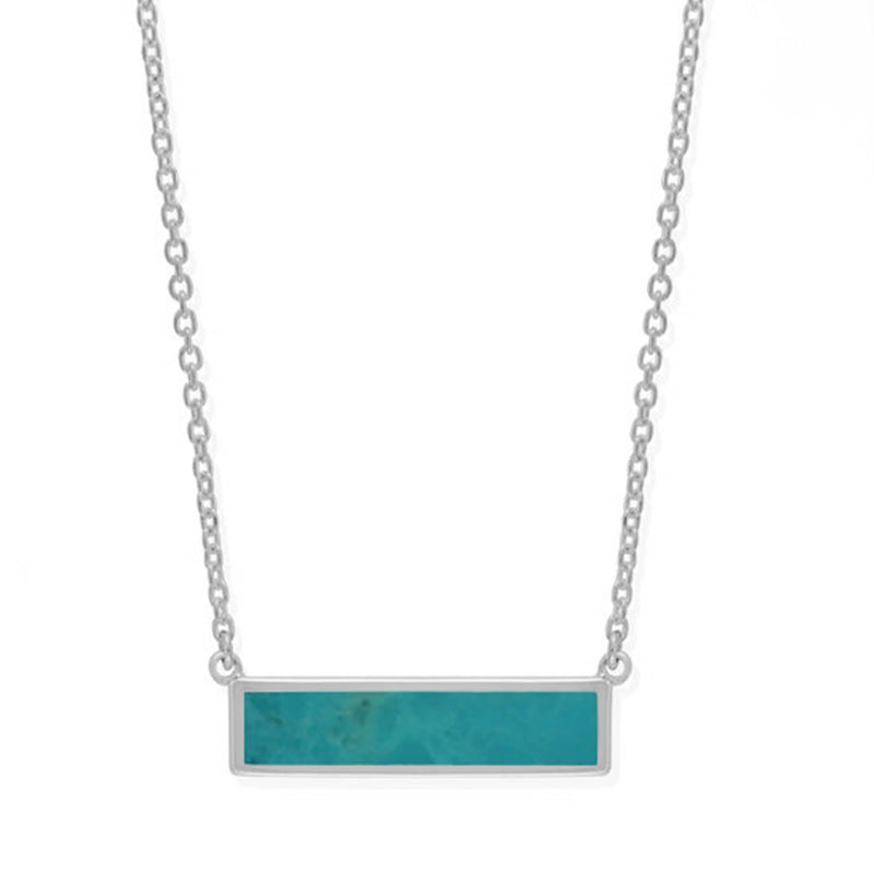 Boma New Necklaces Sterling Silver with Turquoise Belle Horizontal Bar Necklace with Stone