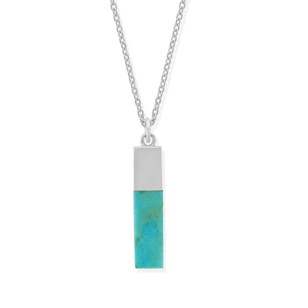 Boma New Necklaces Sterling Silver with Turquoise Belle Vertical Bar Necklace with Stone
