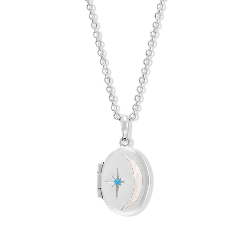 Boma New Necklaces Sterling Silver with Turquoise for December Oval Crescent Moon Sterling Silver Birthstone locket Necklace